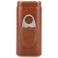 Brown Genuine Leather Cedar Cigar Travel Case 3 Count Cedar Lined Wood Tubes