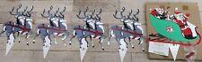 Vintage Santa Sleigh & Reindeer Lawn Or Roof Set Bnib