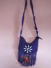 Genuine Soft Purple Suede Leather Western Shoulder bag fringed & belt loop beads