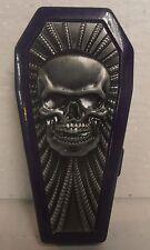 Coffin Biker Metal Cigarette Case, Purple, Raised Skull, BRAND NEW
