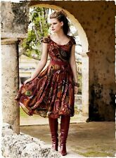 Peruvian Connection Retro Chic Silk Merlot/Brown Flare Dress~ Sz-6~Beautiful~