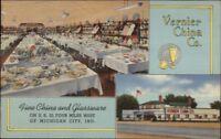 Michigan City IN Area Vernier China Co LINEN ADV Postcard