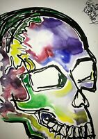 ORIGINAL MALEREI PAINTING zeichnung BILD ART skull totenkopf Hexe gothic gothik