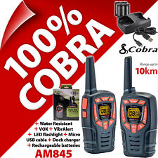 Cobra AM845 2 vías Walkie Talkie Radios 10 km Recargable PMR 446 AM-845 Twin Pack
