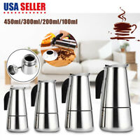 4 Size Stainless Steel Moka Espresso Stovetop Coffee Maker Percolator Pot Latte