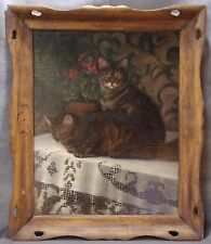 Antique Original Oil Painting TWO CATS ON THE TABLE Signed BARNES Framed
