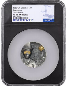 STEAMPUNK 2020 3OZ SILVER ANTIQUE FINISH COOK ISLANDS NGC MS70 FR BLACK CORE COA