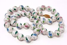Vintage White Chinese Porcelain Bead Knotted Necklace