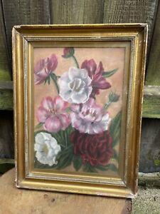 ANTIQUE Vintage FRAMED STILL LIFE PASTEL DRAWING on board glazed flowers floral