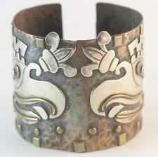 Vintage Mixed Married Metal Mexican Cuff Bracelet Sterling Silver Brass Copper
