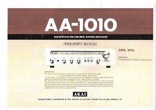 AKAI manuale di istruzioni user manual Owners Manual per AA - 1010 inglese