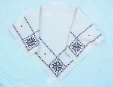 Tablecloth Linen Hand Embroidered Cross Stitch Ukranian Arts & Crafts 35 x34 1/2