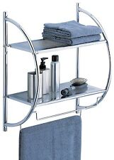 2-Tier Shelf Towel Bar Rack Storage Organizer Toilet Bathroom Chrome Space Saver