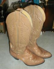 Amazing JUSTIN EXOTIC Snakeskin Leather Women's Tan Cowboy Western Boots sz 5.5