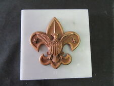 Boy Scout Emblem Marble Paperweight 4 inch Square    eb17