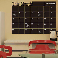 Monthly chalkboard blackboard removable wall sticker decor month plan Calender