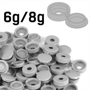 SMALL LIGHT GREY PLASTIC SCREW COVER CAPS HINGED FOLD OVER SIZE 6g/8g GAUGE GRAY