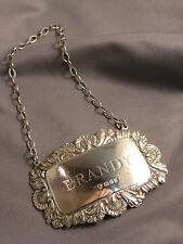 Vintage English Sterling Silver Brandy Liquor Label on Chain London 1975