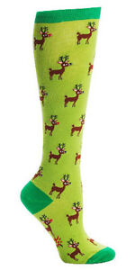 New Sock it to Me Knee HIgh  Socks REINDEER GAMES Green  Shoe S 5-10 Christmas