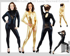 Metallic Dnacewear Wetlook Catsuit Bodysuit Costume Black Silver Red Blue Gold