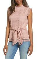 $69 NWT GIBSON WOMEN'S PINK LACE BELTED TOP SIZE S
