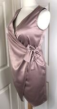 "Shiny Satin Wrap Dress Size 10 Bust 32"" Secretary Mistress CD TV C089"