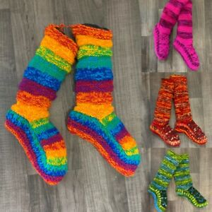 Wool Socks Chunky Knitted Fleece Lined RAINBOW  Nepal Slipper Socks Winter Warm