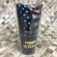 Proud Veteran Tervis 24oz Tumbler Cup Red White Blue Flag Soldier Military