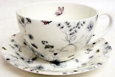 Secret Garden Breakfast Cup & Saucer Bone China Floral Garden Cappuccino Latte