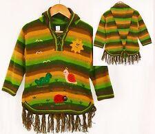 Alpaka Kinder Pullover: Gr. 98/104, grün braun XXL Zipfelkapuze Peru Inka Tiere
