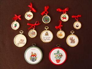 Twelve Cross Stitch (including 3 Beaded) Christmas Tree Decorations
