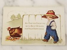 """""""An Easter Greeting"""" Postcard Posted 1916 Child & Chicken with Colored Eggs"""