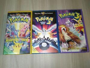 Lotto 3 VHS - Pokemon Il film / Pokemon 2 La forza di uno / Pokemon 3 - Ed. ITA
