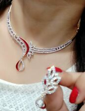 Indian Pakistani Jewelry AD Necklace Earrings Red Stone Gold Plated Style Love