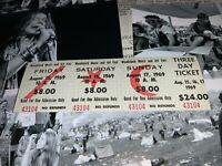 WOODSTOCK 3 DAY 1969 ORIGINAL TICKETS JIMI HENDRIX GRATEFUL DEAD TEN YEARS AFTER