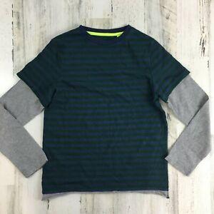 Mini Boden Boys Blue Green Stripe Gray Long Sleeve T Shirt Basic Sz 9 10 Y NEW