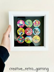 90's Looney Tunes Pogs Tazos Framed Home Decoration - Vintage Retro Gaming Gift