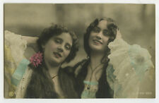 c 1907 Pretty Pair Long Haired Hair YOUNG LADY BEAUTY Traut tint photo postcard