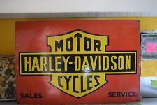 VINTAGE ORIGINAL PORCELAIN ENAMEL HARLEY DAVIDSON MOTORCYCLES LARGE SIGN