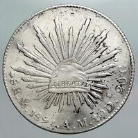 1891 Mo AM MEXICO Large Eagle Sun Antique Mexican Silver 8 Reales Coin i90468