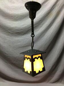 Vintage  Pendant Ceiling Light Fixture Pebbled Slag Glass Stained Porch 998-20B