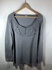 Reba Woman Silver Metallic Pullover Sweater With Sequin Neck Detail Size 3X New