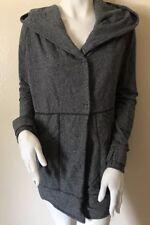 EUC Lululemon Grey Cotton And Spandex Hooded Button Up Sweater Jacket Size 8