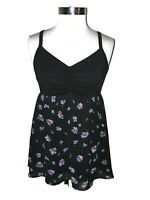 TORRID Plus Size 0 0X Tank Top Black Blue Pink Floral Ruching Sleeveless