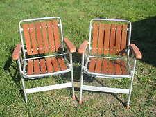 Pr. Mid Century Vintage Redwood Slat Aluminum Lawn Folding Patio Chairs