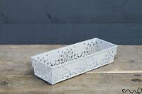 Grey Small Plastic Lace Kitchen Bathroom Storage Basket Organiser Container VAT