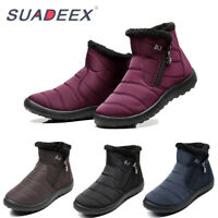 Womens Winter Snow Ankle Boots Fur Lined Waterproof Outdoor Flat Warm Cozy Shoes