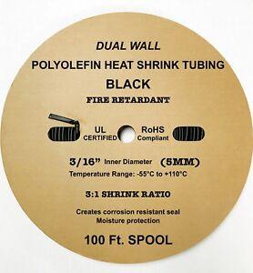 "100 Ft. BLACK 3/16"" 5mm Dual-Wall Adhesive 3:1 Ratio Heat Shrink Tubing M23053/4"