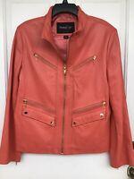 Pasha & Jo New York Coral Leather Jacket, 6 Pockets, 4 Initial Zipper, Size XL.