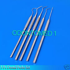 NEW 5 Pc PIECE DENTAL PROBE SET KIT HYGIENE TOOLS STAINLESS STEEL PR-0066